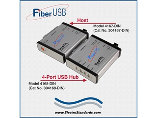 Quad USB 2.0 Extender, 4-Port Hub Model 4168-DIN, Catalog 304168-DIN