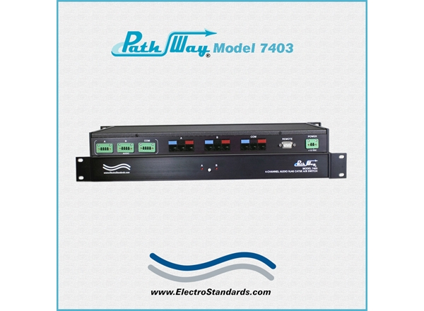Catalog # 307403 - Model 7403 4-Channel, 1 Audio & 3 RJ45 Cat5e, PoE A/B Switch with RS232 Remote