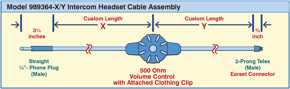 Model 989364-XY Intercom Headset Cable Assembly drawing