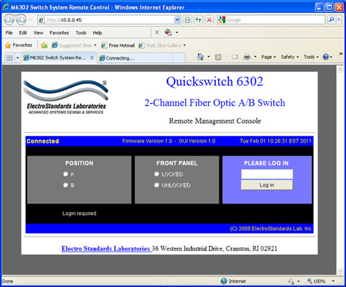 QuickSwitch® 6302 Dual Channel LC Duplex A/B Switch showing GUI