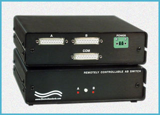 Model 4720 DB25 A/B Switch monitors data on ports A and B responding to custom protocol.