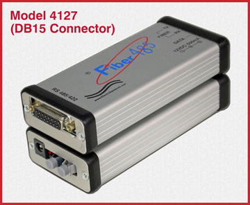 Model 4127 HP Fiber to RS485 Converter with DB15 connector.