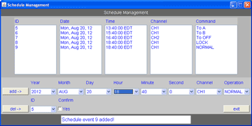Model 7349 schedule management panel allows a user to set a date and time for an action to occur on the switch.