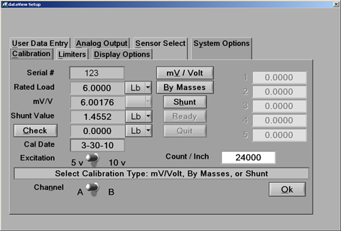 Calibration panel allows selection of  mV/Volt, By Masses, or Shunt methods of calibration.