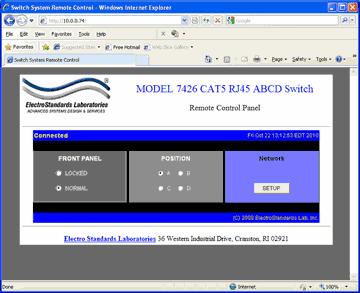 Model 7426 RJ45 CAT5 A/B/C/D Switch GUI in a standard web browser.