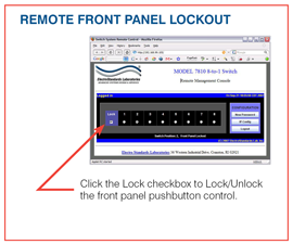Model 7810 Screen Shot of Remote Front Panel Lockout