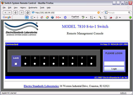 Model 7810 GUI in a Standard Web Browser