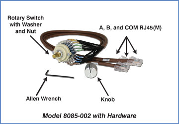 Model 8085-002 Components: Rotary Switch with A/B/COM RJ45's, Knob and Allen Wrench