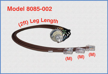 Model 8085-002 Single Channel RJ45 Cat5e A/B Rotary Switch, 2 Foot Leg Length, No Enclosure