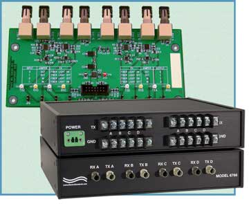 Model 6765 board only and Model 6765 desktop unit Four Channel TTL Logic-to-ST Fiber Optic Converter